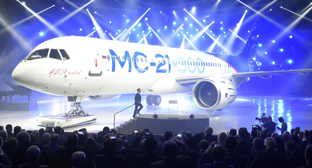 June 8, 2016. Prime Minister Dmitry Medvedev speaks at a presentation of MC-21-300 mid-range aircraft at the Irkutsk Aircraft Plant (Irkut Corporation).