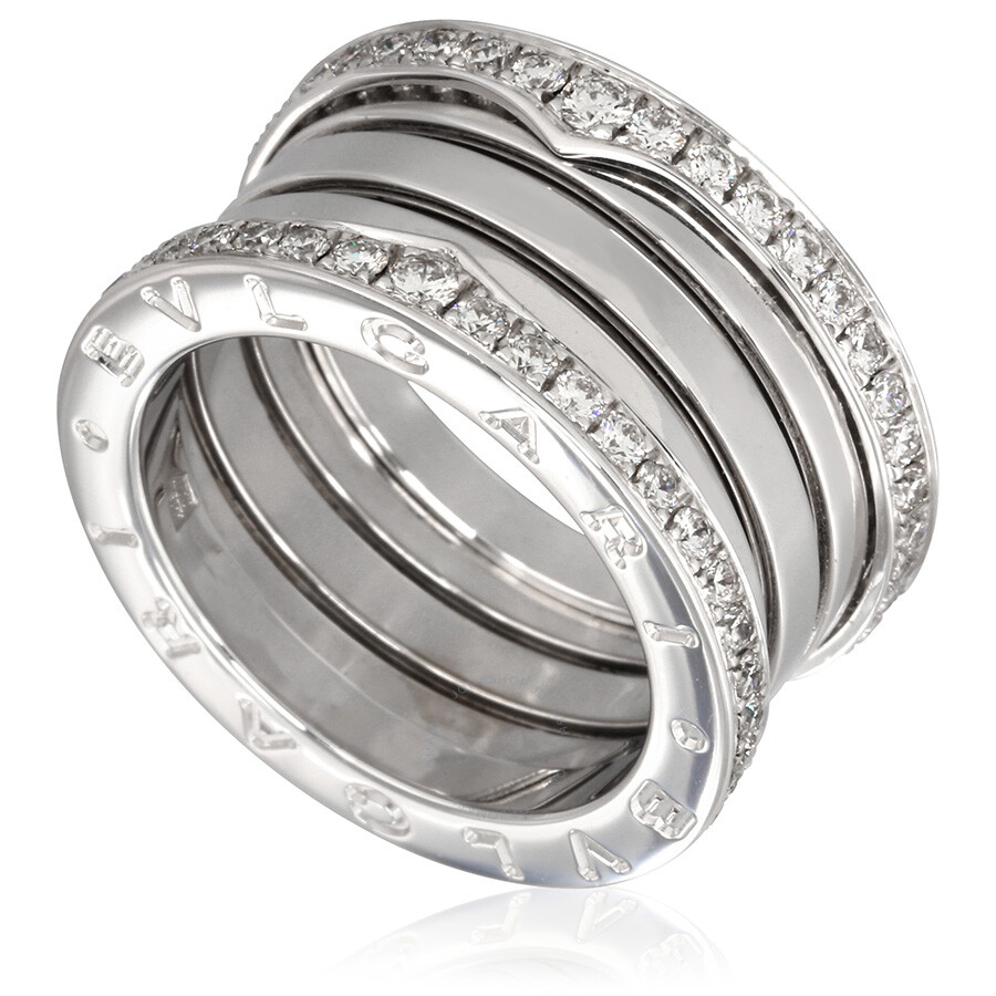 Bvlgari Bzero1 18k White Gold 4 Band Diamond Pave Ring Size 725