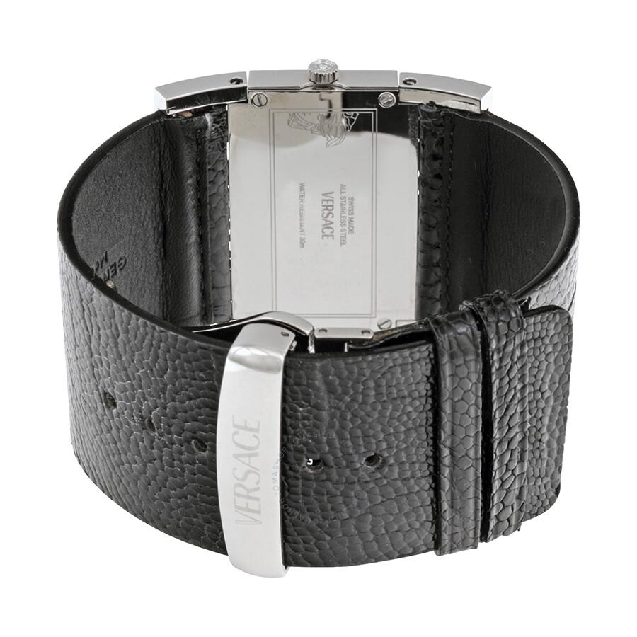 Imagini pentru Versace Deauville Black Dial Diamond Black Leather Ladies