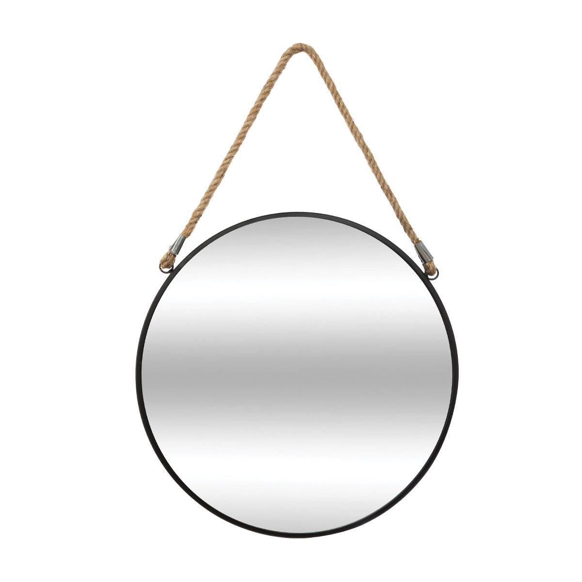 miroir rond metal noir sur corde