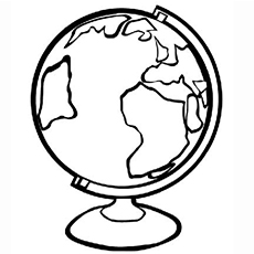 Go Green Globe On Stand To Color Earth Supports Life Coloring Page