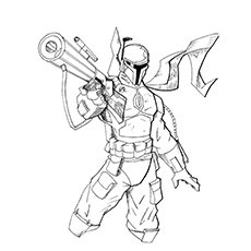 boba fett coloring page fett with his rifle