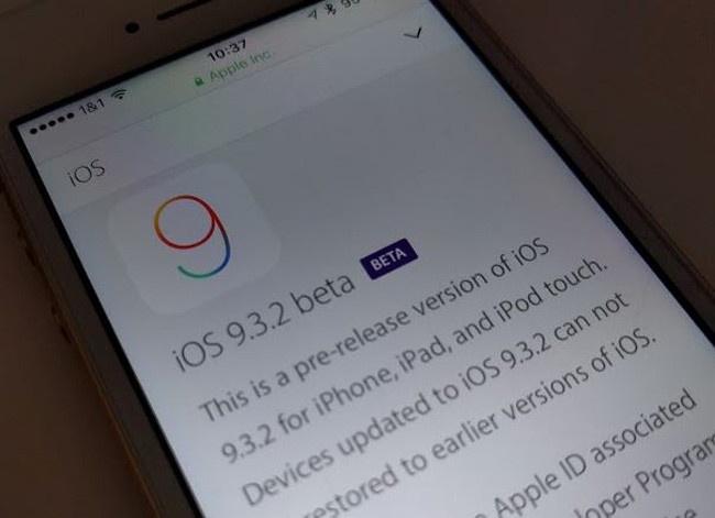 Actualización OTA de iOS 9.3.2 Beta 1