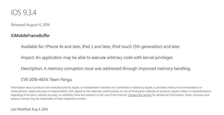 Parche de seguridad integrado en iOS 9.3.4