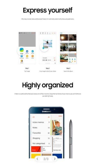 S Note de Samsung