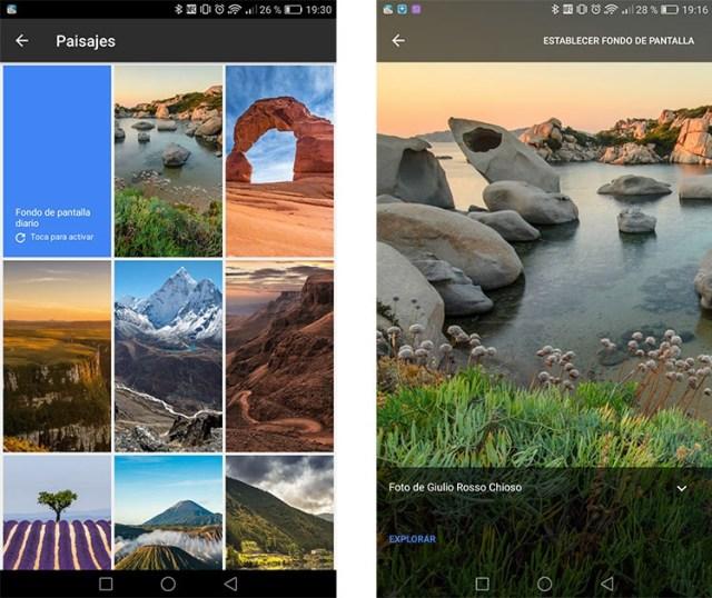 Wallpapers de la aplicación de fondos de pantalla de Google