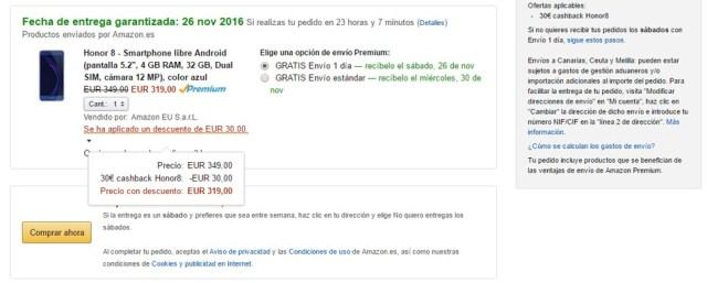 precio del Huawei Honor ocho en ©Amazon con descuentos