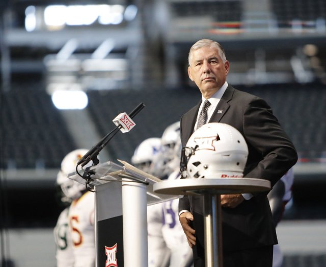 Photo - Big 12 Conference commissioner Bob Bowlsby takes the stage on the first day of Big 12 Conference NCAA college football media days Monday, July 15, 2019, at AT&T Stadium in Arlington, Texas. (AP Photo/David Kent)