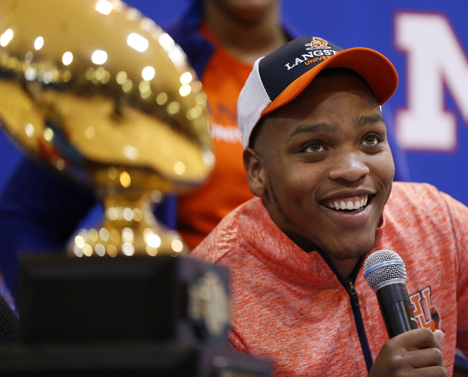 Photo - Millwood's Chase Coleman speaks during the signing ceremony for high school football players in the Millwood Field House in Oklahoma City, Wednesday, Feb. 6, 2019. Coleman will play football at Langston. Photo by Nate Billings, The Oklahoman
