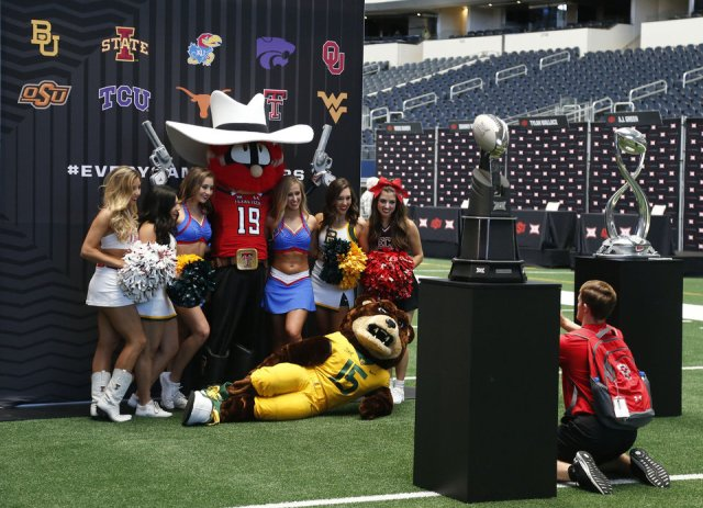 Photo - Big 12 school mascots taking a photo at the Big 12 Media Day at AT&T Stadium in Dallas, TX, July 15, 2019. STEPHEN PINGRY/Tulsa World