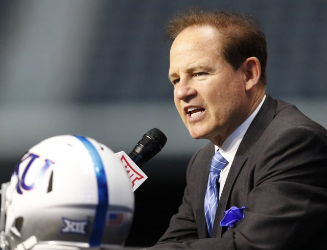 Photo - Kansas head coach Les Miles speaks on the first day of Big 12 Conference NCAA college football media days Monday, July 15, 2019, at AT&T Stadium in Arlington, Texas. This is Miles' first season at Kansas. (AP Photo/David Kent)