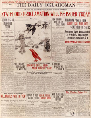 Front page of the Daily Oklahoman on November 16, 1907, anticipating President Roosevelt's proclamation to come that morning. Daily Oklahoman image.