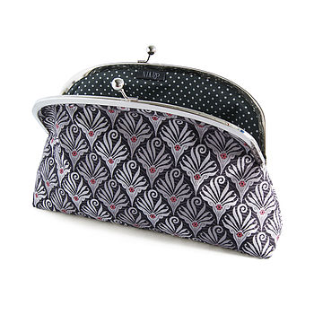 Graphic Lace Framed Clutch Bag