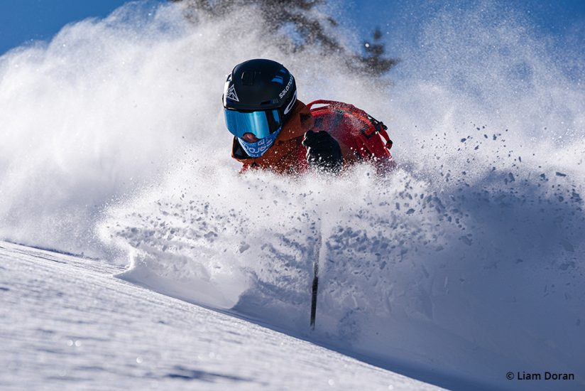 Example of ski photography using continuous AF.