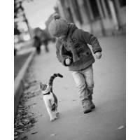 blanc vintage enfant et son minou