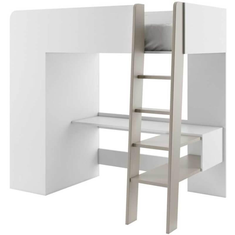 lit mezzanine blanc pour enfant petite chambre