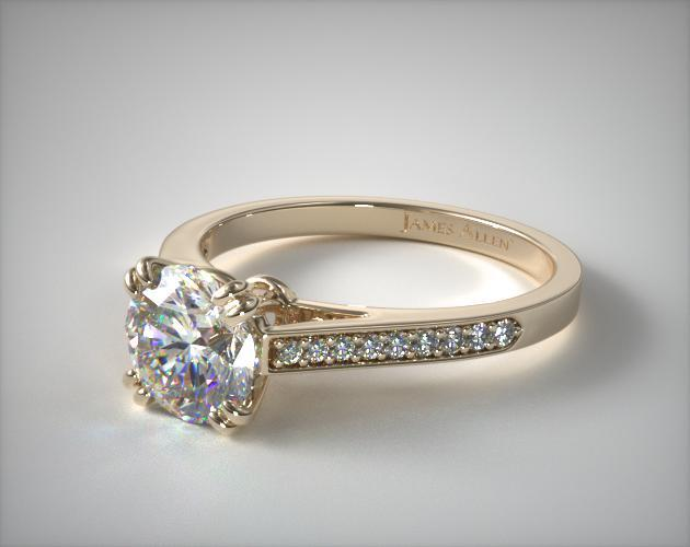 Engagement Rings Pave 14k Yellow Gold Double Claw Prong