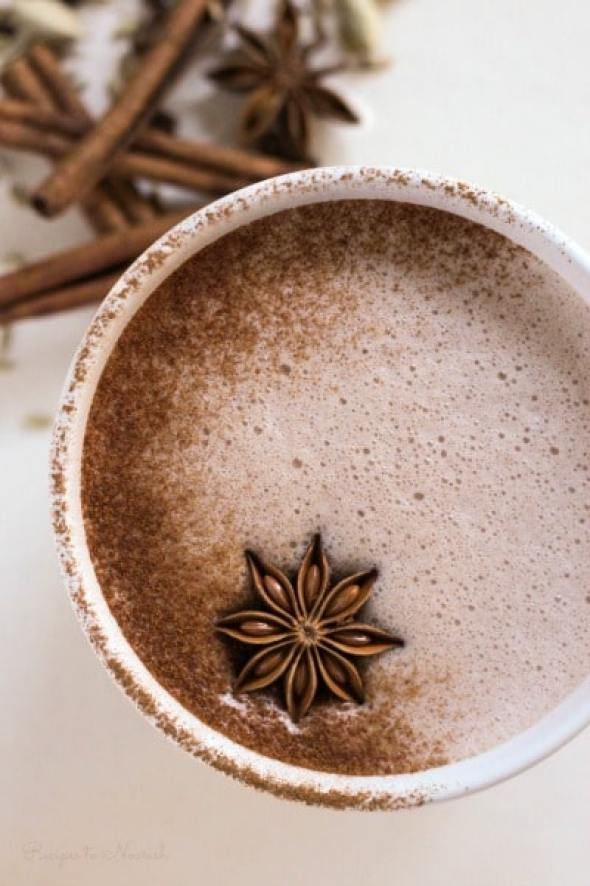 Real Food Chai Hot Chocolate is the perfect warming drink on a cold day. This hot, creamy, nourishing drink is protein-rich, fragrant, sweet and slightly spicy with hints of cardamom, cinnamon, fennel, ginger and more.| Recipes to Nourish