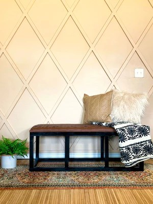 DIY Leather Bench 2048x - DIY Leather Woven Bench