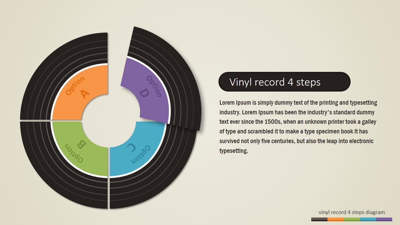 4 Steps Vinyl Record Powerpoint Diagram Slidemodel