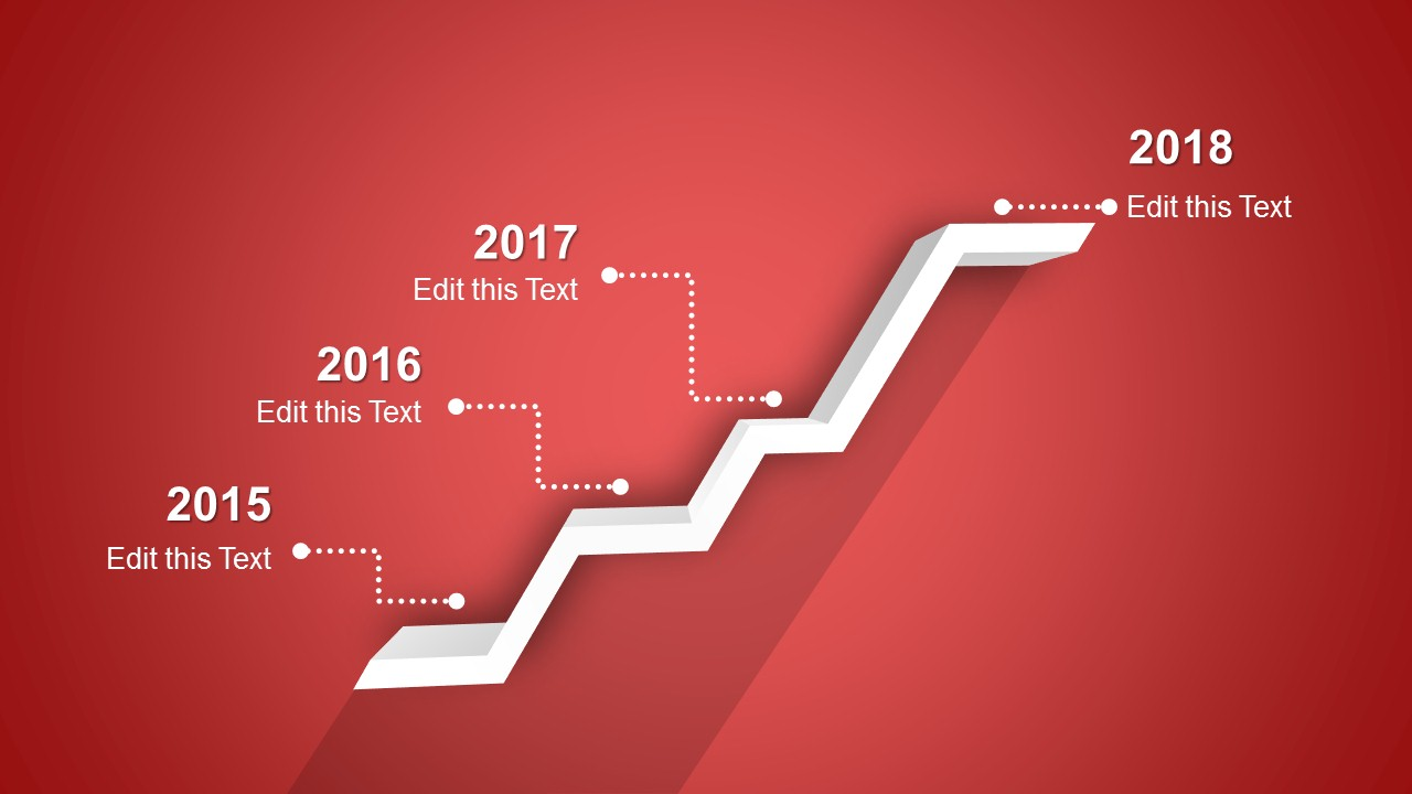 4 Stages Shelf Timeline Template for PowerPoint   SlideModel     PPT Timeline Template 3D 4 Steps Design with Red Background