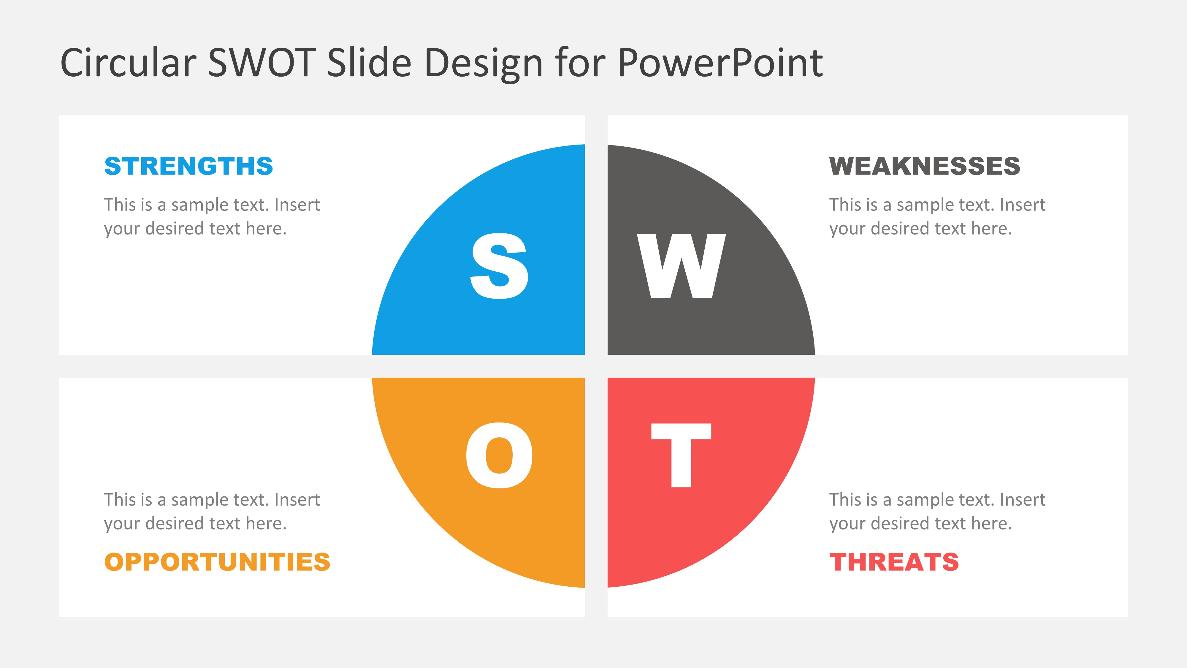Circular Swot Slide Design For Powerpoint