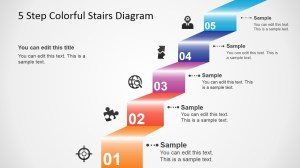 5 Step Colorful Stairs Diagram for PowerPoint  SlideModel