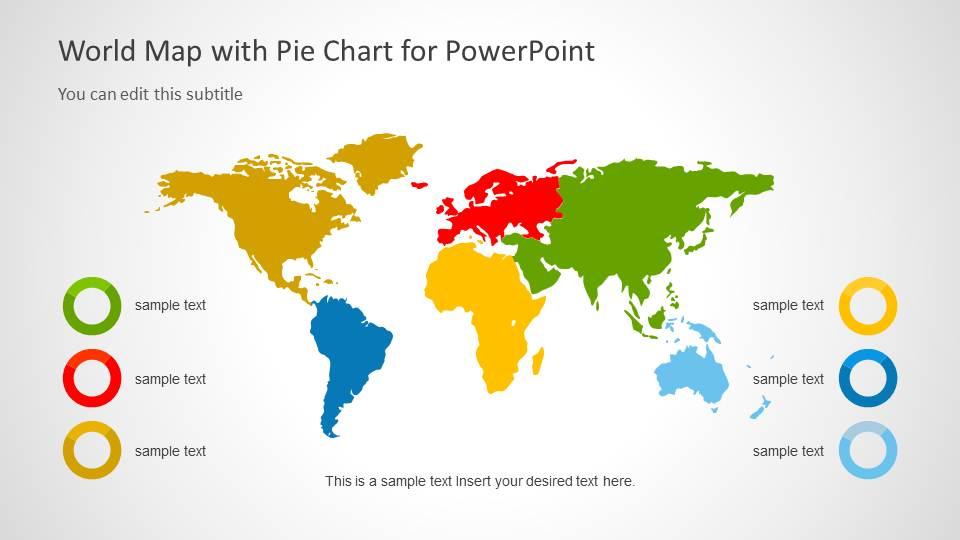 World Map Template With Pie Charts For Powerpoint