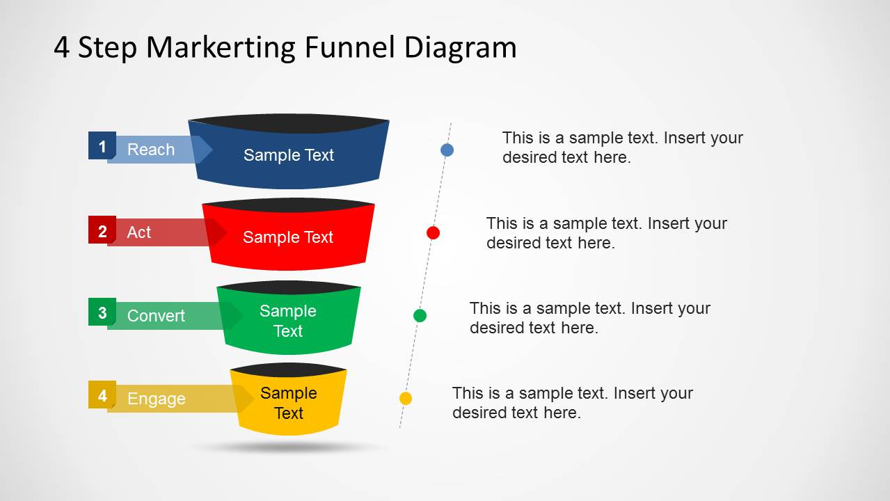 4 Step Marketing Funnel Diagram For Powerpoint