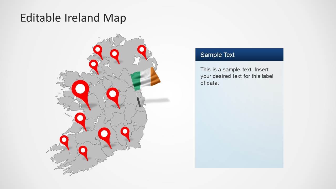 Editable Ireland Map Template for PowerPoint   SlideModel Editable Ireland Map Template for PowerPoint