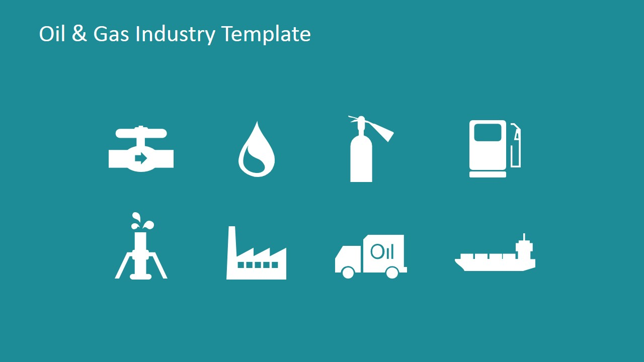 Flat Icons Of Oil And Gas Industry For Powerpoint Slidemodel