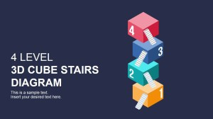 Flat 3D Cube Stairs Diagram for PowerPoint  SlideModel