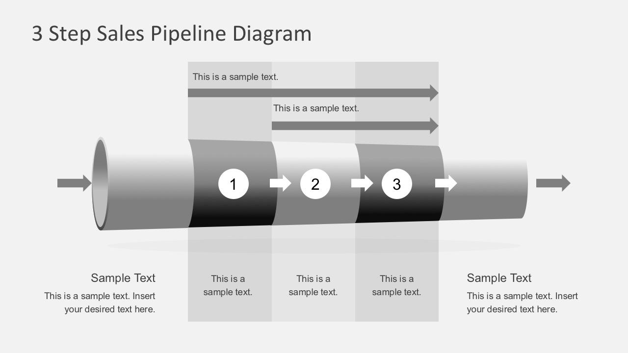 3 Step 3d Tube Diagram Powerpoint Slidemodel