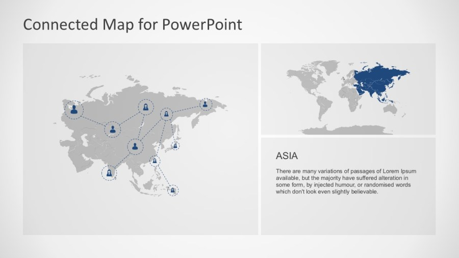 Connected Map PowerPoint Template     Asia Largest Continent Map PowerPoint Slides