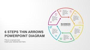 6 Steps Circular Thin Arrows PowerPoint Diagram
