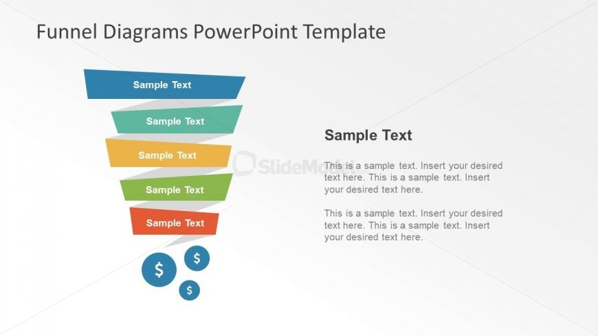 Creative Ribbon Style Funnel Diagram Ppt