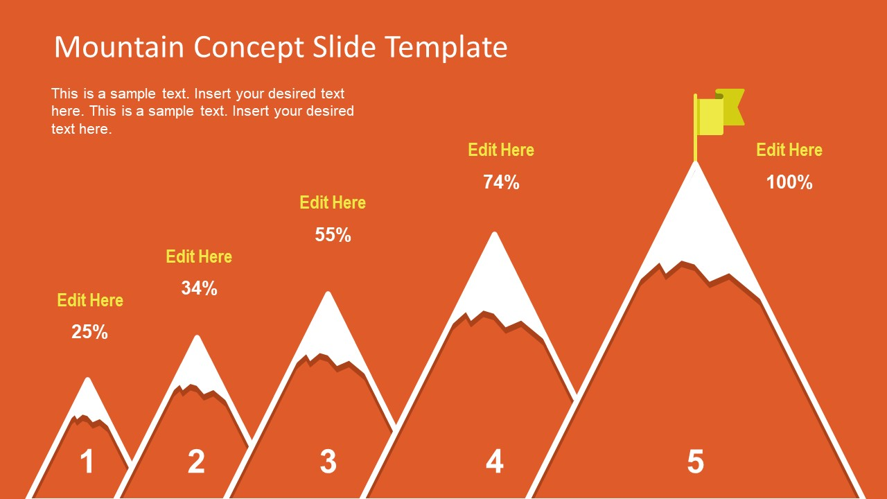 Free 5 Step Mountain Concept For Powerpoint Slidemodel