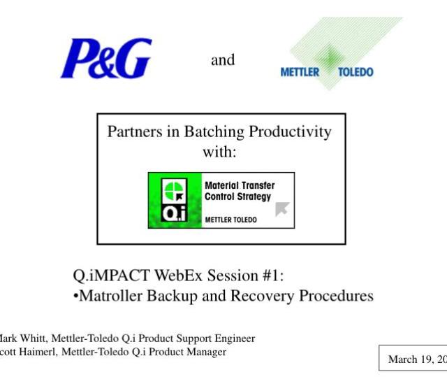Configuration Backup Restore Software Overview Mettler