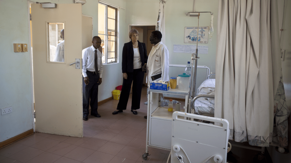 Faust tours the Deborah Retief Memorial Hospital in Mochudi.