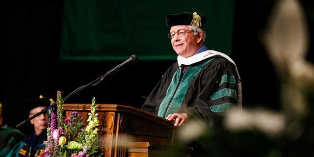 Max Essex speaks at the Marshall University Joan C. Edwards School of Medicine's graduation ceremony 2016.