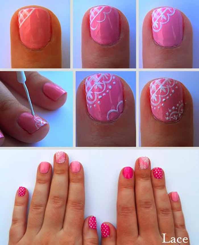 Pink Lace Nail Art For Short Nails