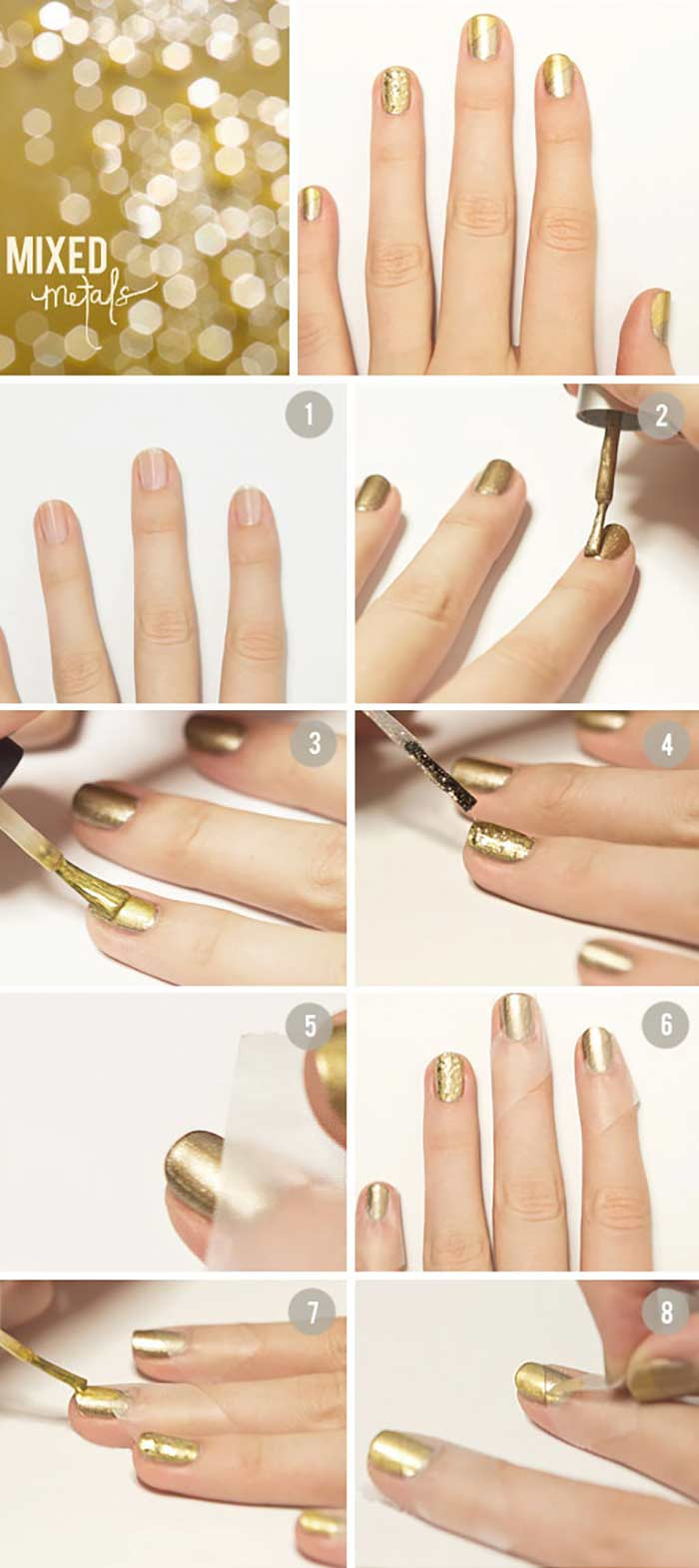 All That Glitters Is Gold Easy Nail Design For Short Nails