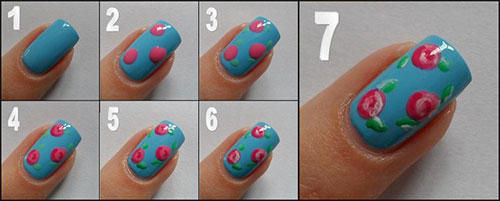 Blue Pink Fl Nail Art