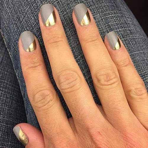 Grey And Gold Nail Art