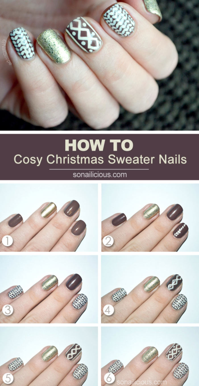 Christmas Sweater Nail Art Tutorial