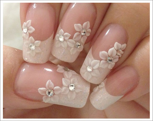 3d French Flower Nail Art