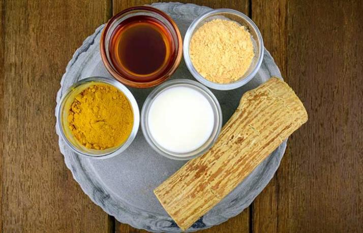 Milk, Gram Flour, Sandalwood Powder and Turmeric