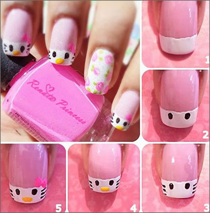 Pink And White Nail Designs 1 Easy O Kitty