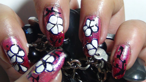 hand painted nail art five