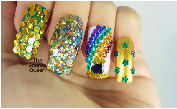 Rainbow Rhinestone Nail Art